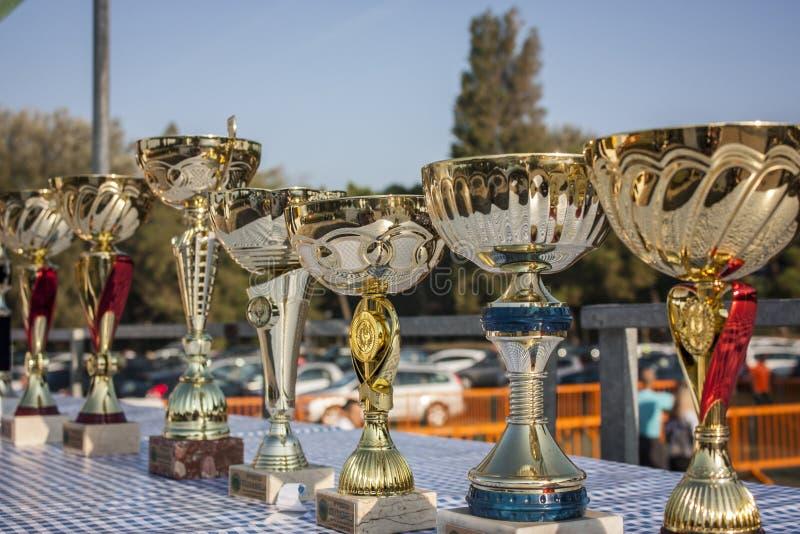 Trophées pour la course photos stock