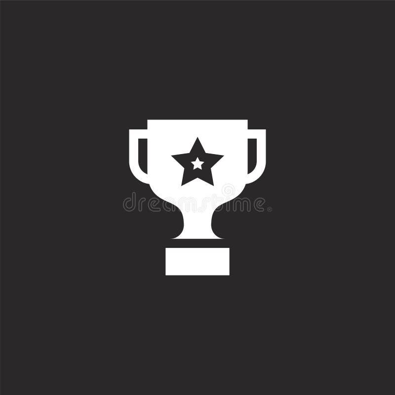 Troph?enikone Gefüllte Trophäenikone für Websiteentwurf und Mobile, Appentwicklung Trophäenikone von gefülltem Feedback und von H stock abbildung