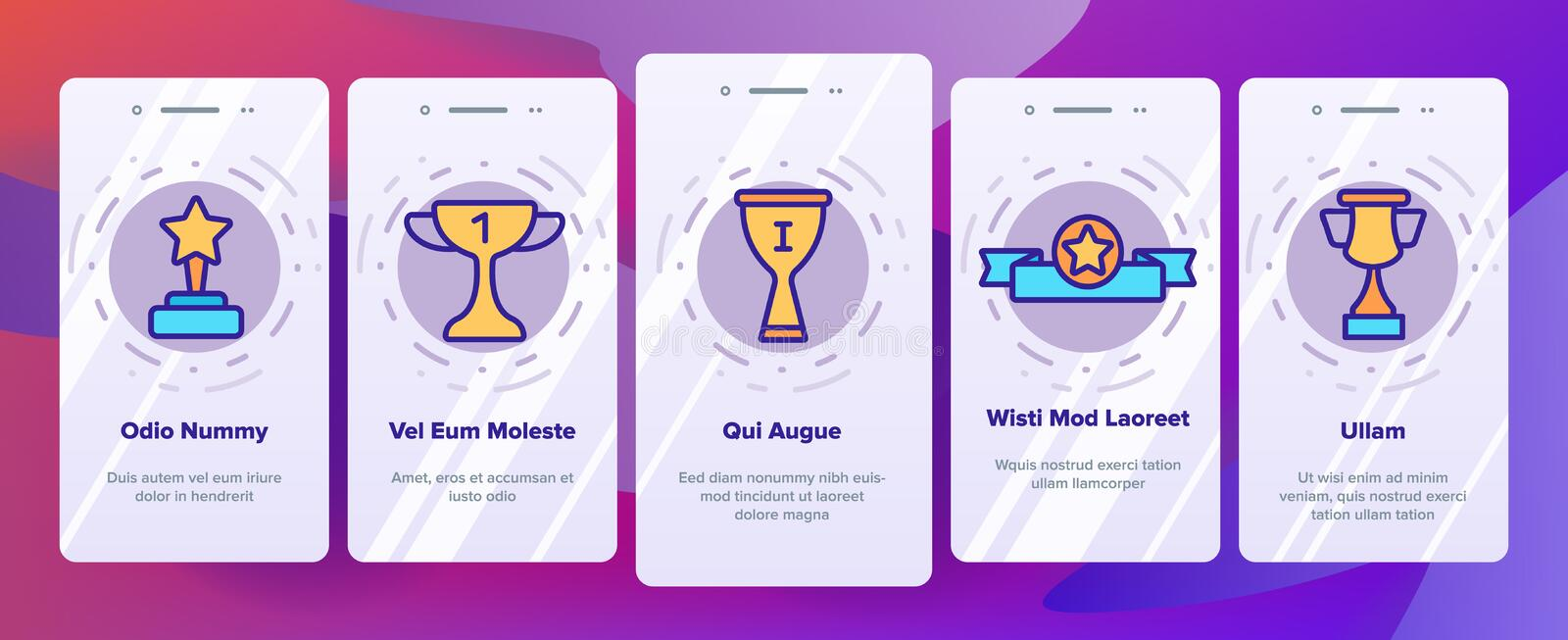Trophies And Medals For First Place Vector Onboarding stock illustration
