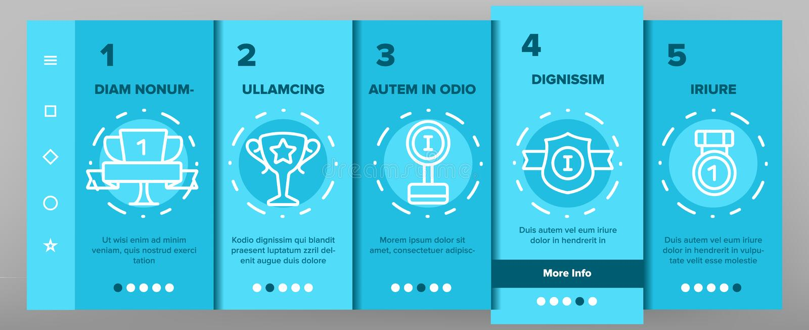 Trophies And Medals For First Place Vector Onboarding vector illustration