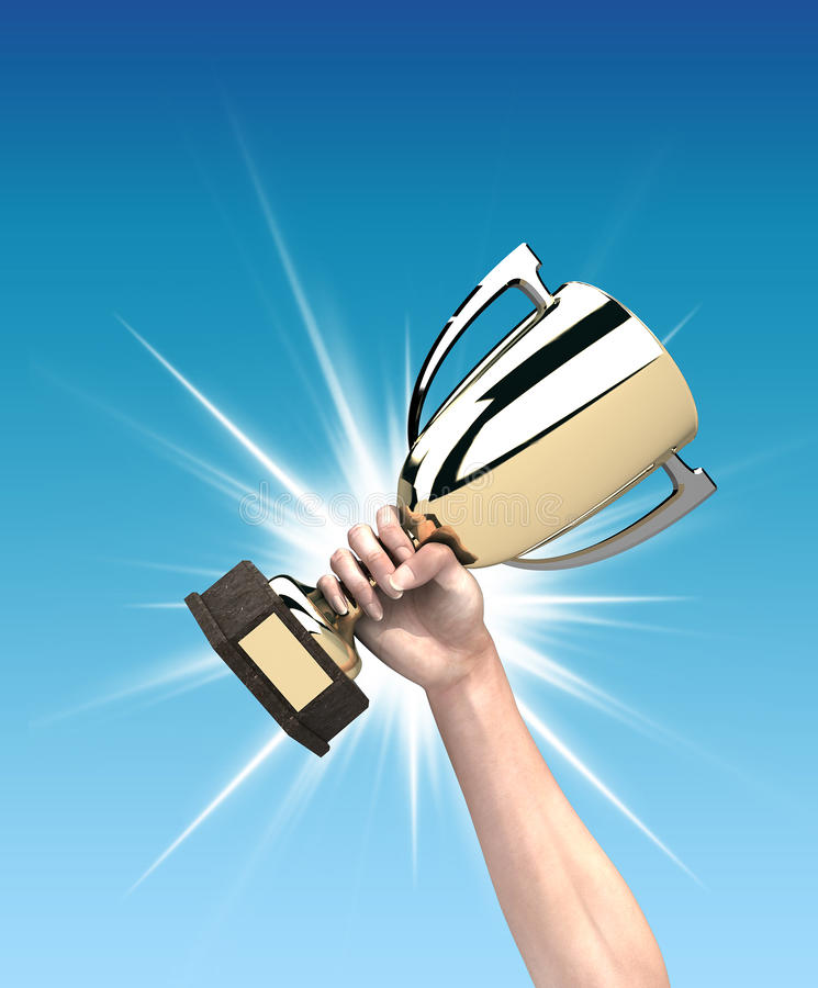Trophy. Male hand holding a trophy. Digital illustration vector illustration