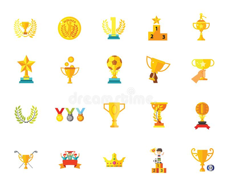 Trophy award medal badge star winner success champion icon set amazing vector illustrations. Golden cups for winners and others sport trophy. Golden reward and royalty free illustration