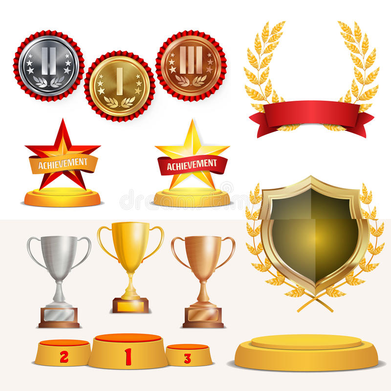 Trophy Awards Cups, Golden Laurel Wreath With Red Ribbon And Gold Shield. Realistic Golden, Silver, Bronze Achievement vector illustration