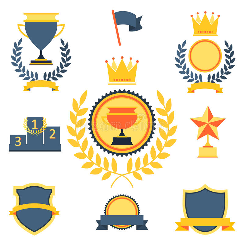Trophy and awards icons set stock illustration