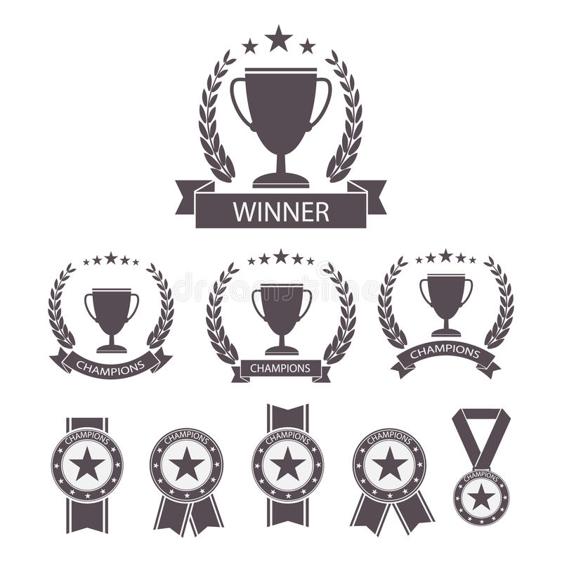 Trophy and awards icons set. royalty free illustration