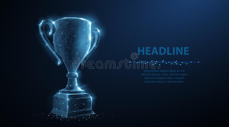 Trophy cup. Abstract vector 3d trophy isolated on blue background. Champions award, sport victory, winner prize concept stock illustration