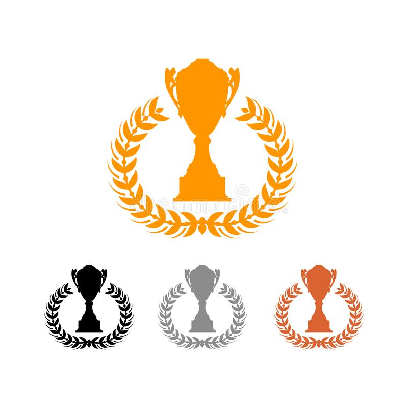 Trophy Cup Award For Champion Winner Silhouette Collection royalty free illustration