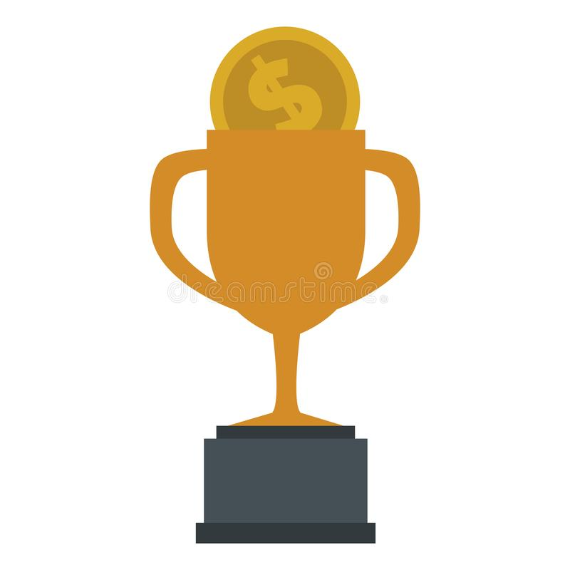 Trophy cup with coin royalty free illustration