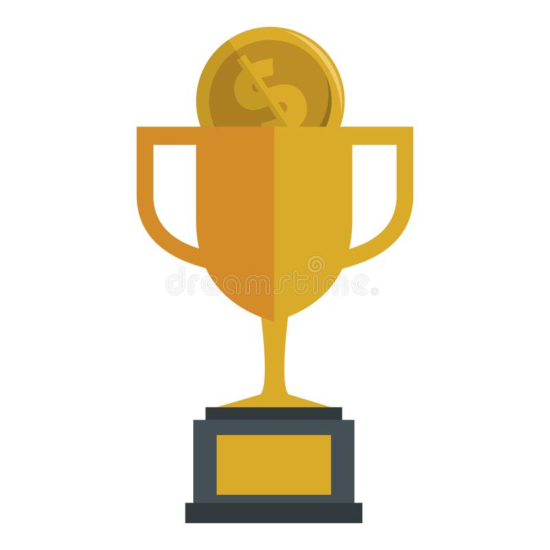 Trophy cup with coin. Vector illustration design stock illustration