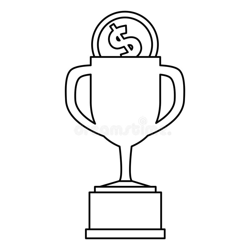 Trophy cup with coin. Vector illustration design vector illustration