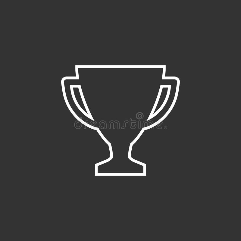 Trophy cup flat vector icon in line style. Simple winner symbol. White illustration isolated on black background stock illustration