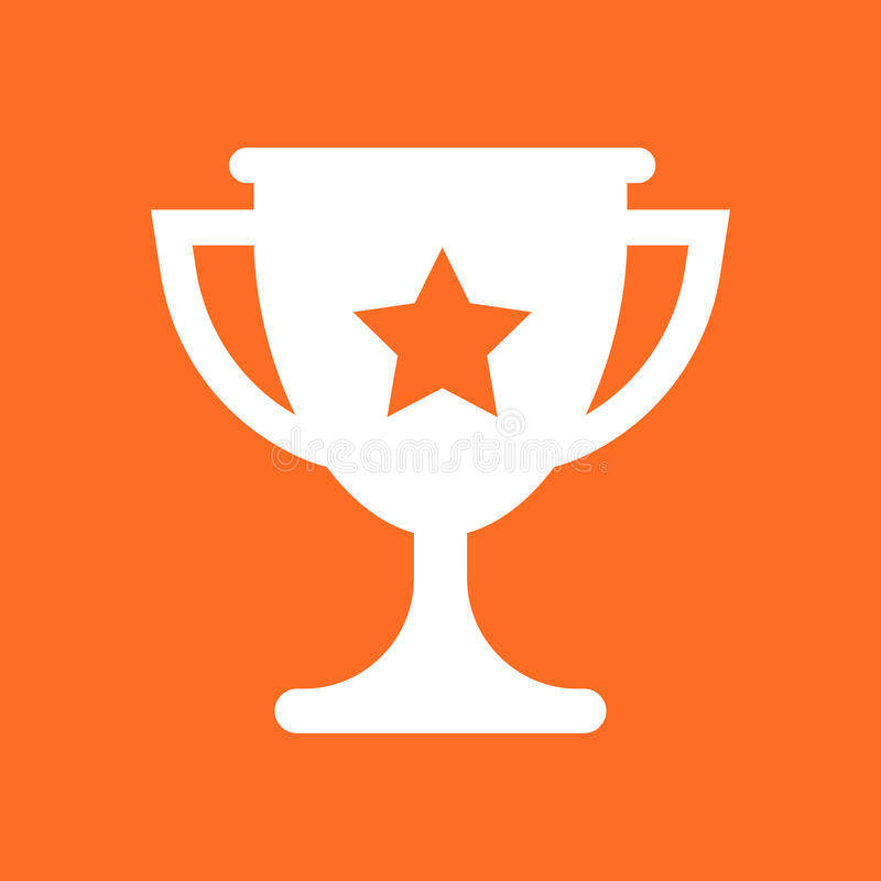 Trophy cup flat vector icon. Simple winner symbol. Gold illustration isolated on orange background. stock illustration