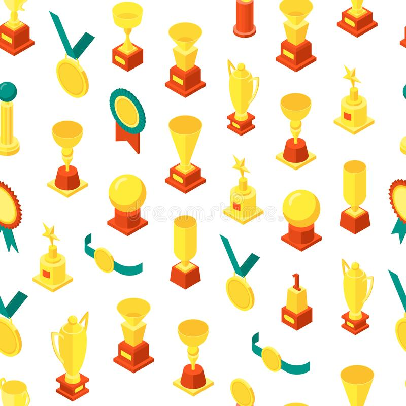 Trophy Cups Awards Seamless Pattern Background Isometric View. Vector stock illustration