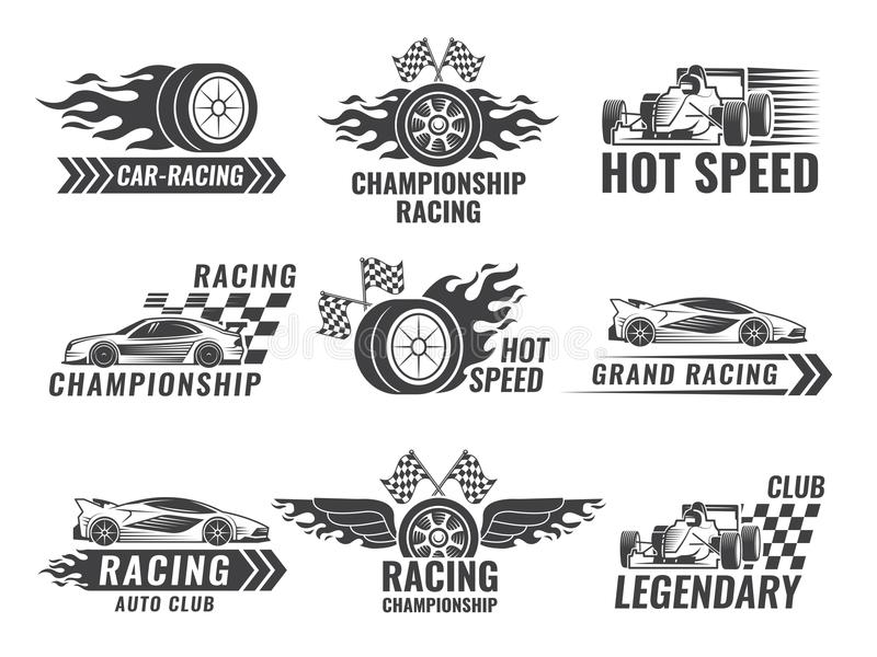 Trophy, Engine, Rally And Others Symbols For Race Sport Labels Stock ...