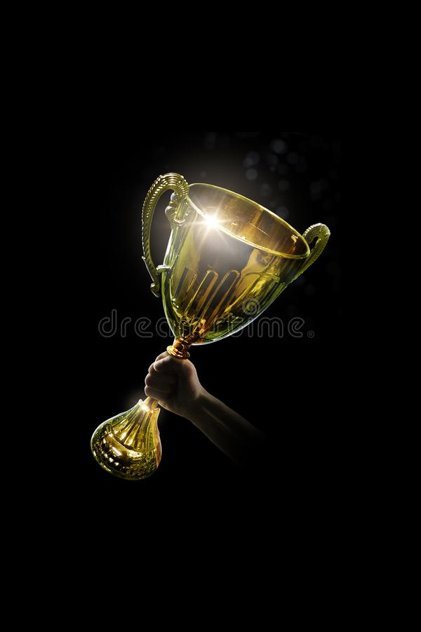 Trophy. Hand holding the victory cup. Isolated stock illustration