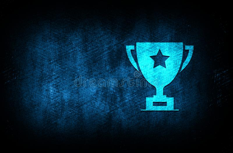 Trophy icon abstract blue background illustration digital texture design concept. Trophy icon abstract blue background illustration dark blue digital texture royalty free illustration