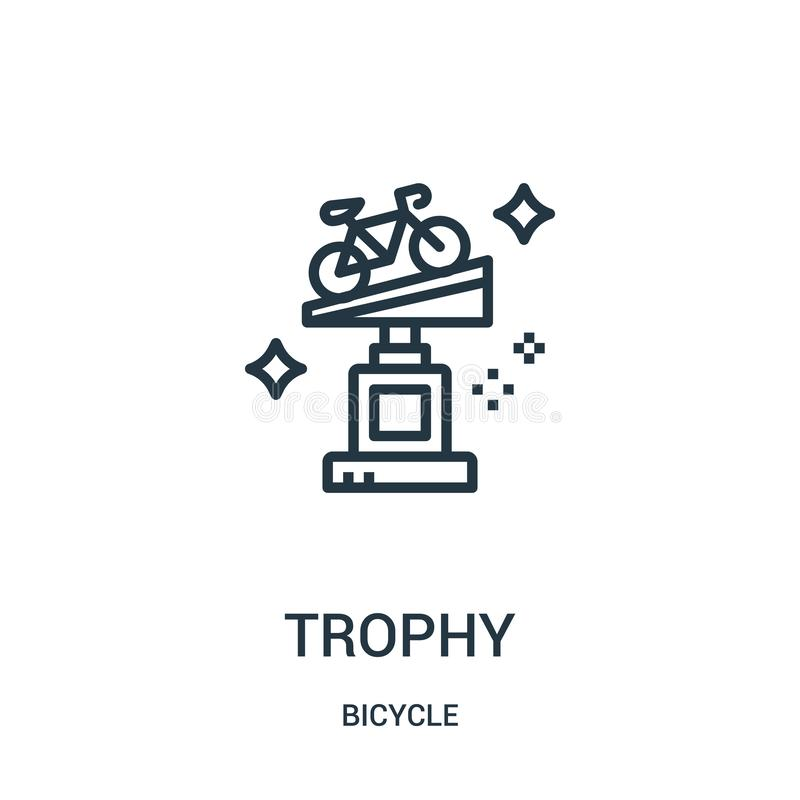 trophy icon vector from bicycle collection. Thin line trophy outline icon vector illustration. Linear symbol for use on web and vector illustration