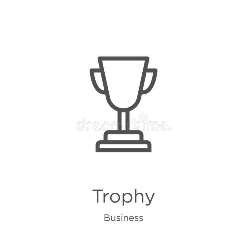 trophy icon vector from business collection. Thin line trophy outline icon vector illustration. Outline, thin line trophy icon for vector illustration