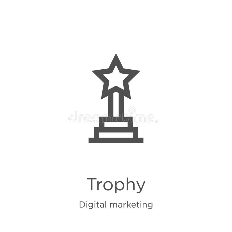 trophy icon vector from digital marketing collection. Thin line trophy outline icon vector illustration. Outline, thin line trophy vector illustration