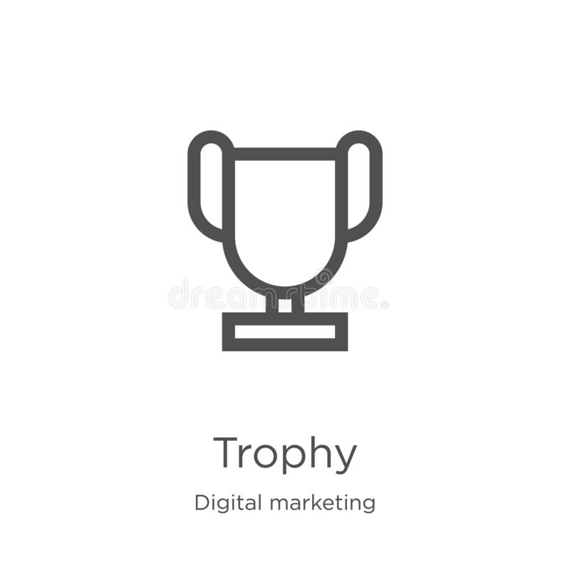 trophy icon vector from digital marketing collection. Thin line trophy outline icon vector illustration. Outline, thin line trophy royalty free illustration