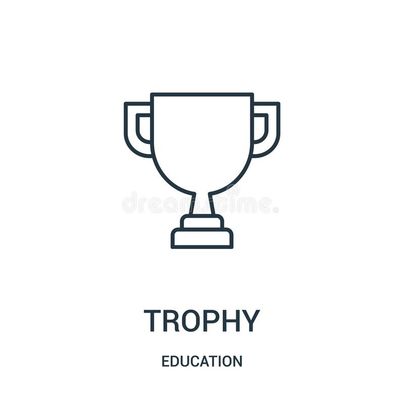 trophy icon vector from education collection. Thin line trophy outline icon vector illustration vector illustration