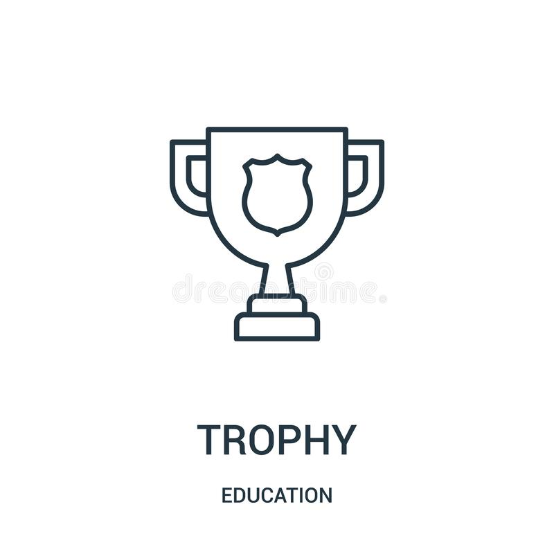 trophy icon vector from education collection. Thin line trophy outline icon vector illustration stock illustration