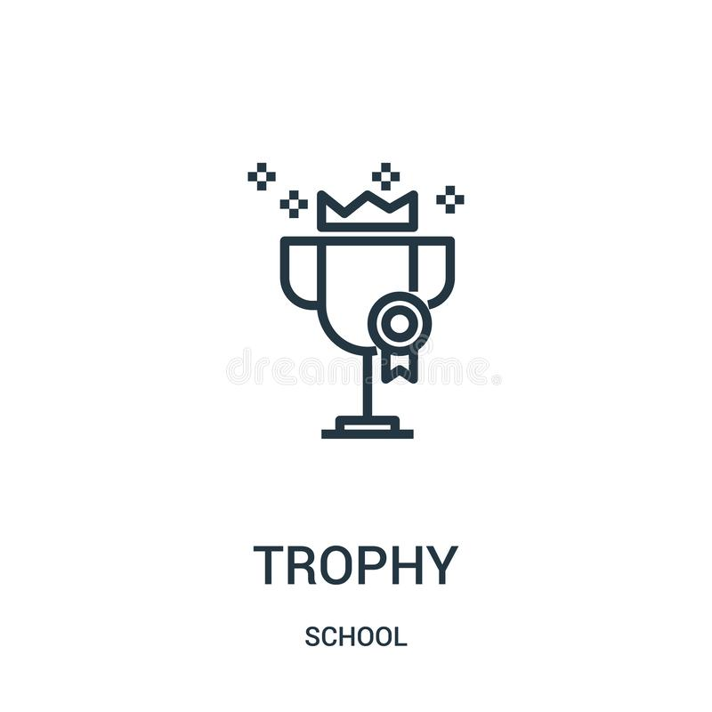 trophy icon vector from school collection. Thin line trophy outline icon vector illustration. Linear symbol for use on web and vector illustration
