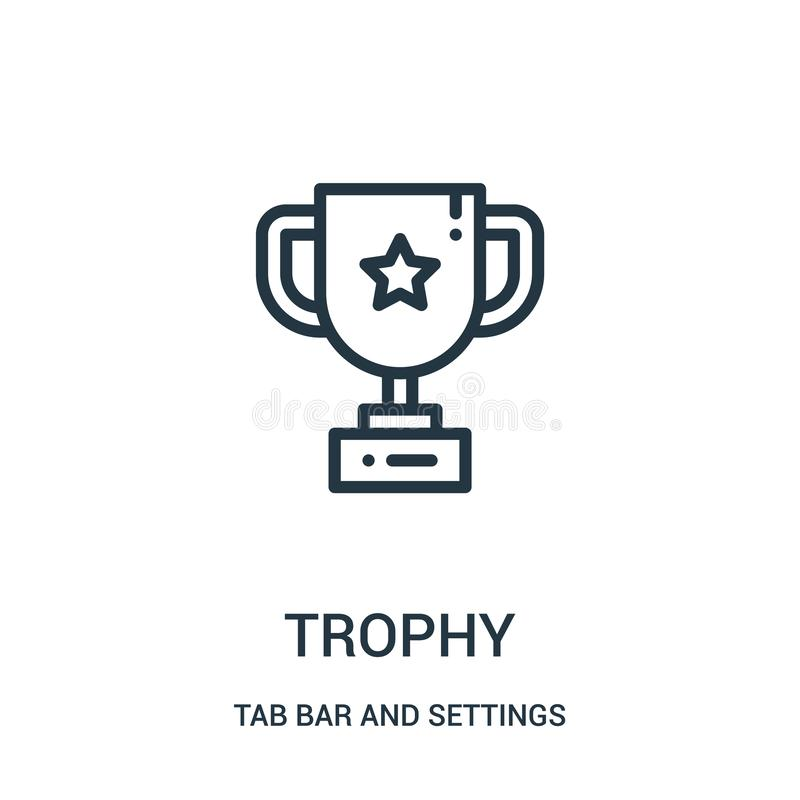 trophy icon vector from tab bar and settings collection. Thin line trophy outline icon vector illustration royalty free illustration