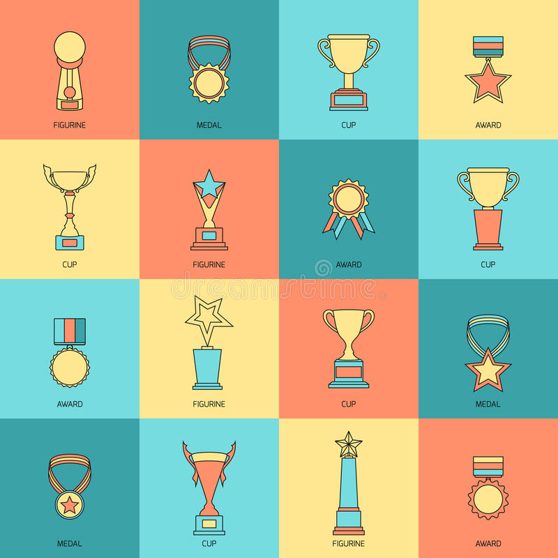 Trophy icons set flat line. Trophy icons flat line set of figurine medal cup award isolated vector illustration royalty free illustration