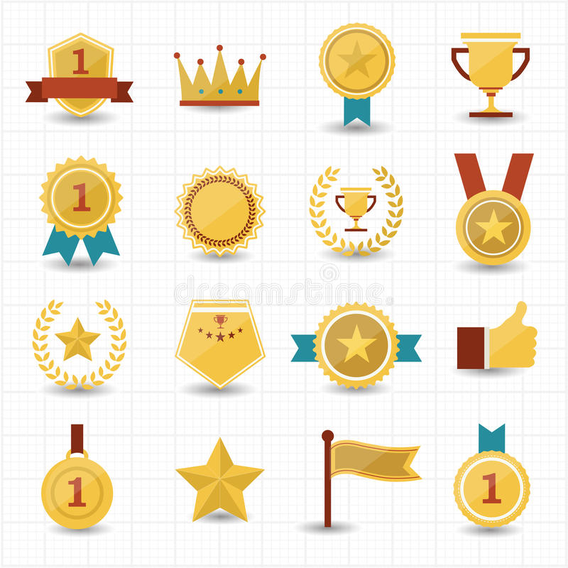 Trophy and prize icons with white background stock illustration
