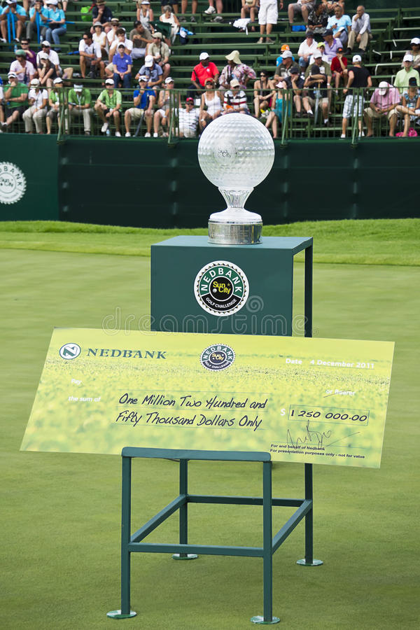 Trophy With Prize Money - Nedbank Golf Challenge Editorial Stock Photo