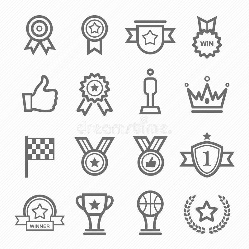 Trophy and prize symbol line icon set vector illustration