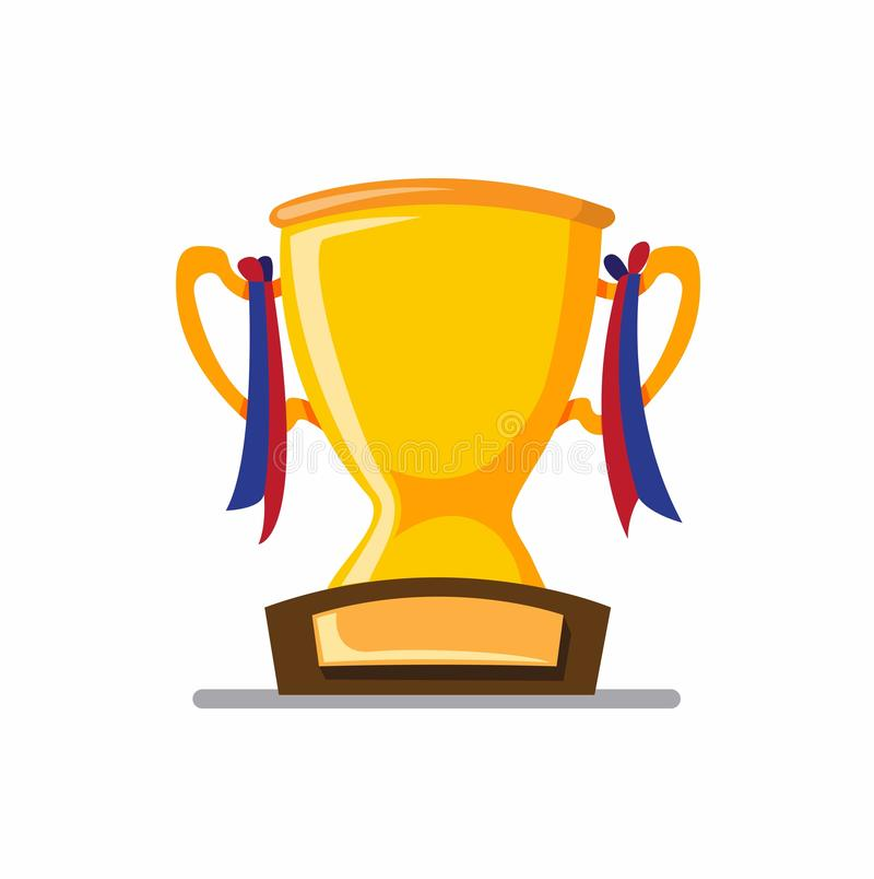 Trophy with ribbon, champion, award, excellence symbol icon in flat illustration vector royalty free illustration