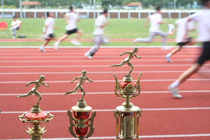 Trophy and runners royalty free stock images