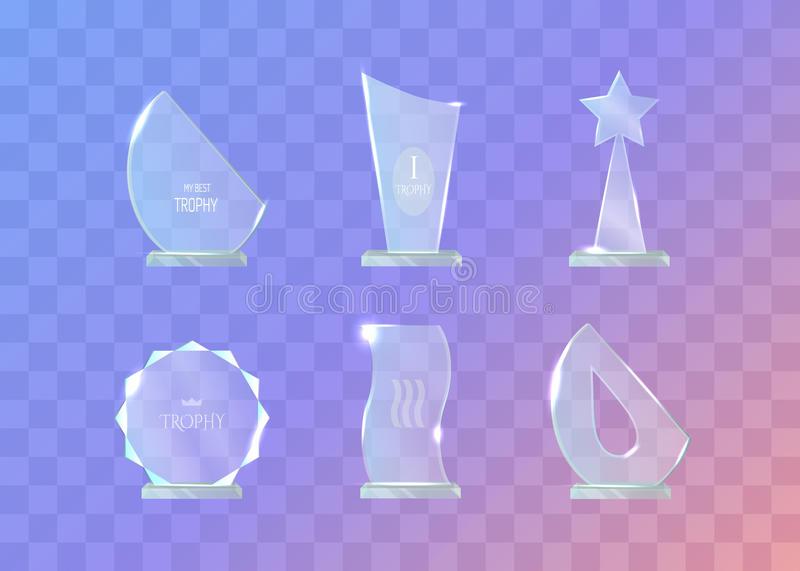 Trophy. Set of Different in Shape Glass Awards. On transparent background. Round, waved, star, semi-oval glass award. Shiny. Glossy. Crystal. Real contemporary royalty free illustration