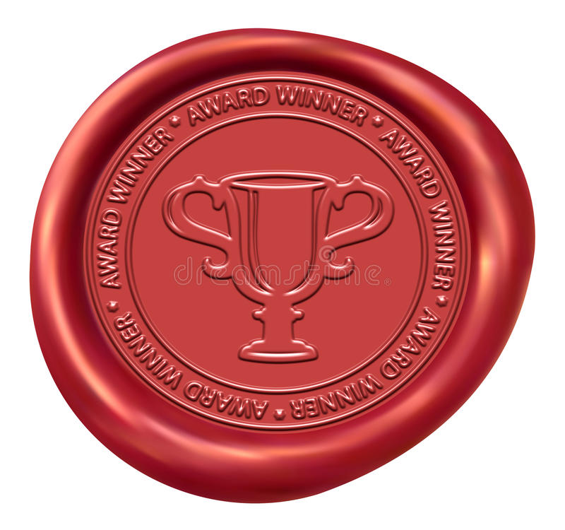 Trophy Sign Wax Seal. Trophy Sign Red Winner Wax Seal vector illustration