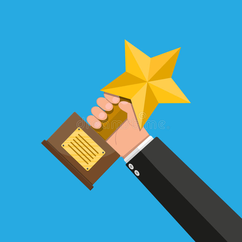 Trophy winner gold star cup with wooden base. Trophy winner gold cup with wooden base in hand. Star shape. Award, victory, champion achievement. Vector vector illustration