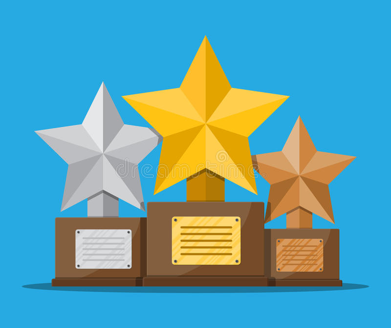 Trophy winner star cup with wooden base. Trophy winner gold silver and bronze cup with wooden base. Star shape. Award, victory, champion achievement. Vector stock illustration