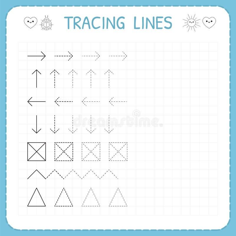 Tropić linie Pracować strony dla dzieci Preschool lub dziecina worksheets Podstawowy writing Tropi wzór Worksheet dla k royalty ilustracja