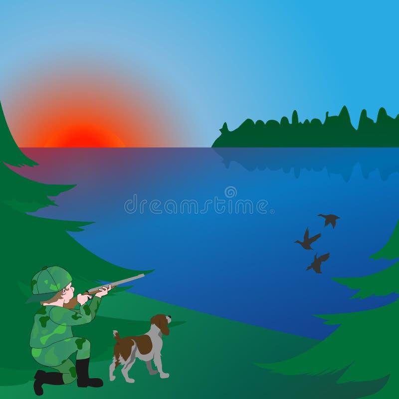 Tropić z psem w wczesnym poranku na jeziorze ilustracja wektor