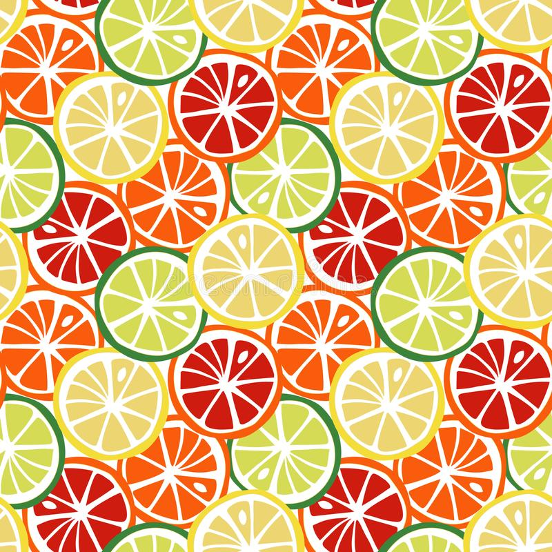 Tropi jaune d'agrume de pamplemousse de rouge orange de chaux de vert de citron de fruit illustration de vecteur