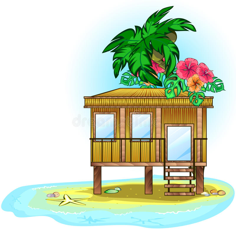 Tropic bungalow. Wooden tropic house or bungalow on the sea stock illustration
