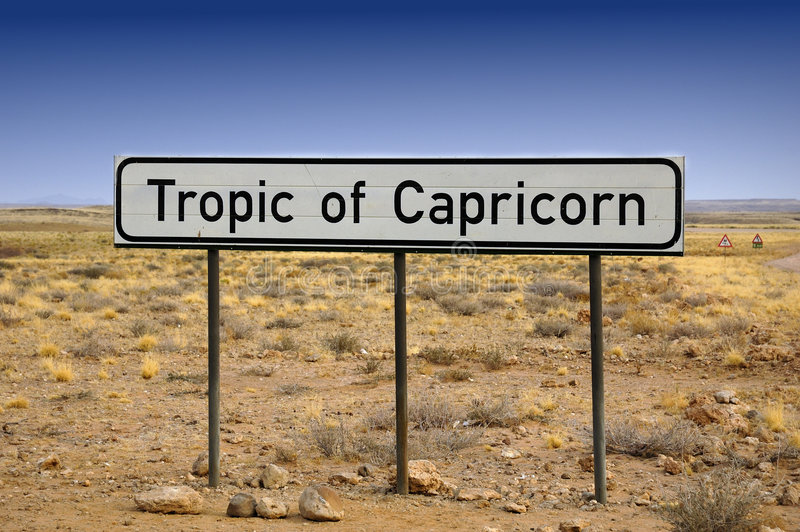 Tropic of Capricorn. The Tropic of Capricorn, or Southern tropic, is one of the five major circles of latitude that mark maps of the Earth. It marks the most royalty free stock images