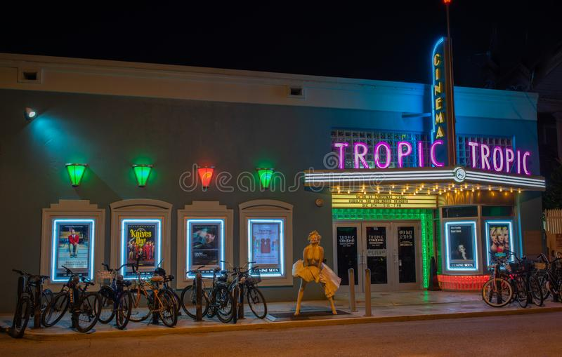 Tropic Cinema 416 Eaton St.Key West, FL 33040. Is a historic theater night shot stock image