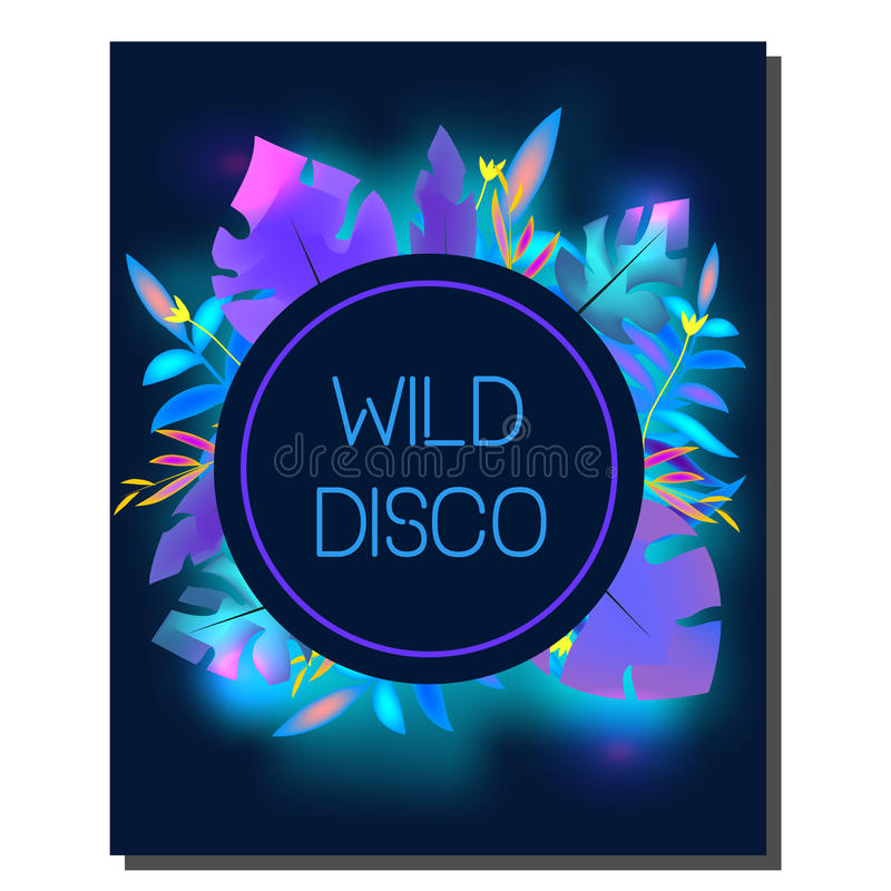 Tropic disco party flyer. Design template. Tropical leaves, blue neon glowing. Advertisement, background. Night club banner stock illustration