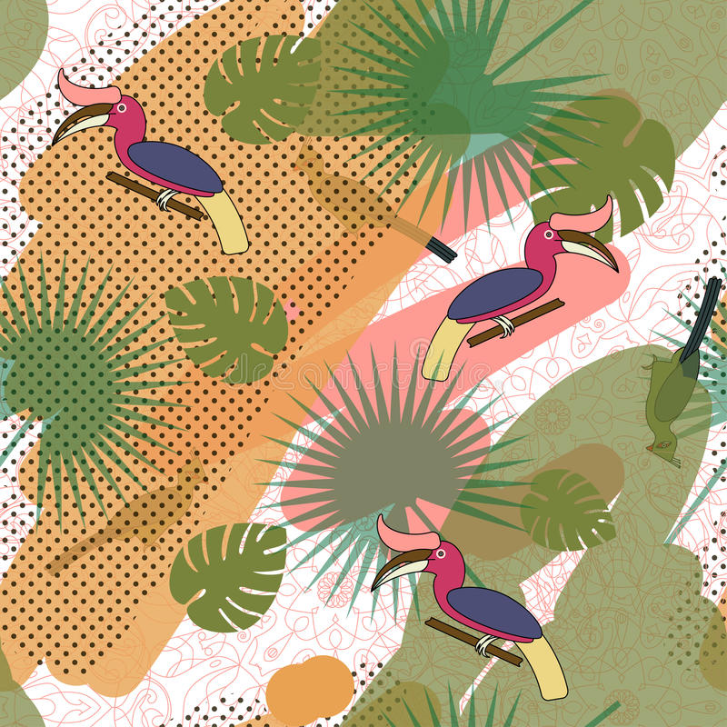 Free Tropic Exotic Multicolor Pattern With Birdsand Tropical Plants Royalty Free Stock Image - 96485106