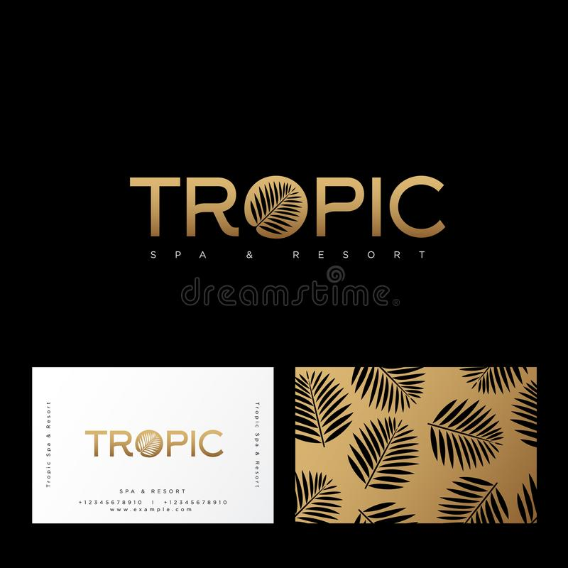 Tropic gold logo. Resort and Spa emblem. O letter with palm leaf. Identity, business card. Pattern with palm leaves on a gold background royalty free illustration