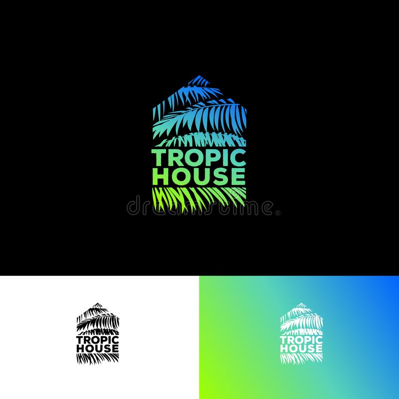 Tropic House logo. Resort and Spa emblem. Tropical cosmetics. Palm leaves in a silhouette of a tropical house. royalty free illustration