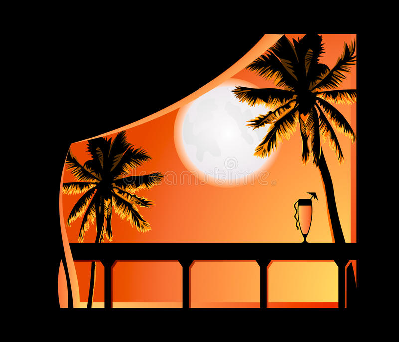 Download Tropic night stock vector. Image of moon, island, bright - 12188933