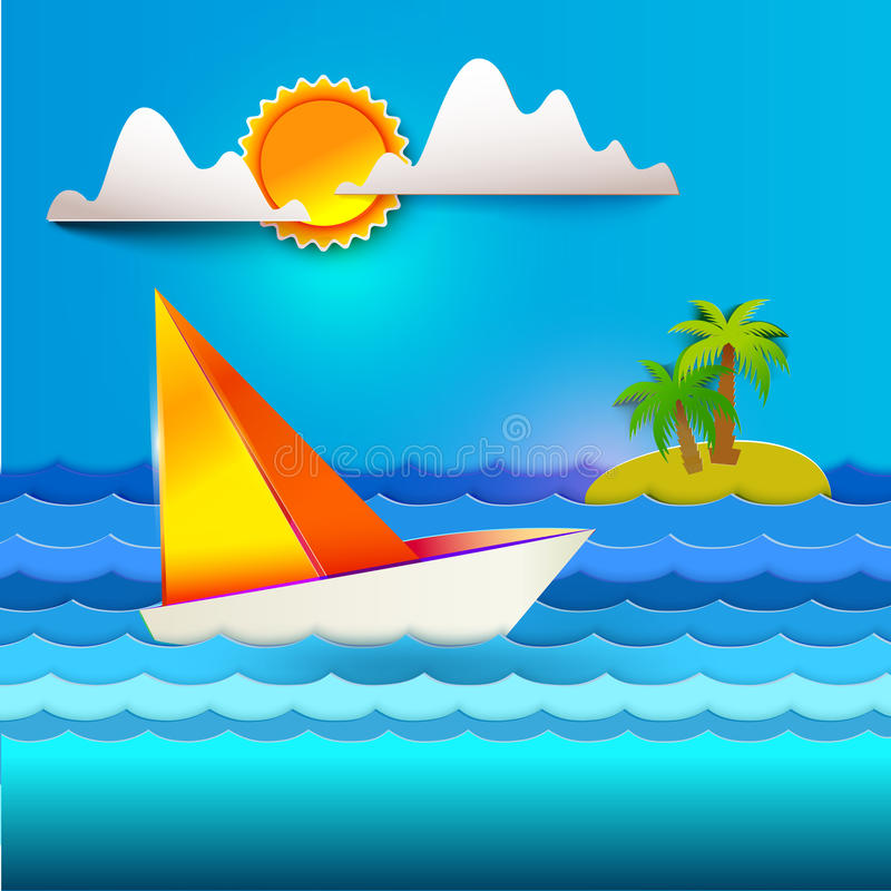 Tropic paper style background stock illustration